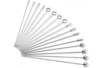 (Silver) - Dsmile Stainless Steel Cocktail Picks (Set of 16)