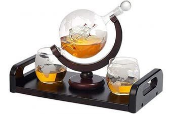 (2 cup) - Bezrat Etched Globe Whiskey Decanter + 2 Whiskey Glasses 300ml on Rich Wood Mahogany Base Tray with 2 Side Handle - Gift Packaging - Antique Ship Whiskey Dispenser for Liquor Scotch Bourbon Vodka 850