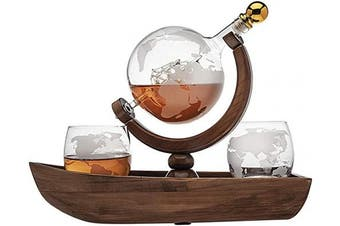 Godinger Whiskey Decanter Ship Globe Set with 2 World Whisky Glasses - for Liquor, Scotch, Bourbon, Vodka - 850ml