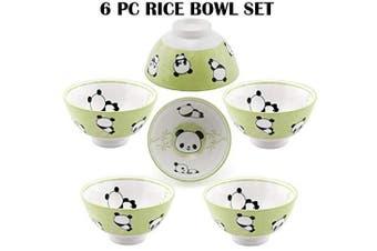 (Panda) - Hinomaru Collection Oriental Japanese style Set of 6 Ceramic Donburi Rice Bowl Tayo Multi Purpose 11cm Dia x 5.7cm H (Panda)