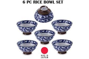 (Karakusa) - Hinomaru Collection Authentic Japanese Minoyaki Set of 6 Ceramic Donburi Rice Bowl Tayo Multi Purpose 11cm Dia x 5.7cm H (Karakusa)