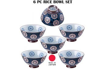 (Kiku) - Hinomaru Collection Authentic Japanese Minoyaki Set of 6 Ceramic Donburi Rice Bowl Tayo Multi Purpose 11cm Dia x 5.7cm H (Kiku)