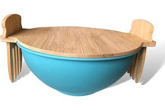 Salad Bowl With Lid And Servers | Eco-Friendly Bamboo Fibre Pasta Bowl and 100% Bamboo Cover With Salad Serving Utensils | Display Cutting Board | Mixing Bowl For Kitchen To Replace Wooden Fruit Bowl