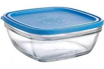 Duralex Made In France Lys Square Bowl with Lid, 2080ml