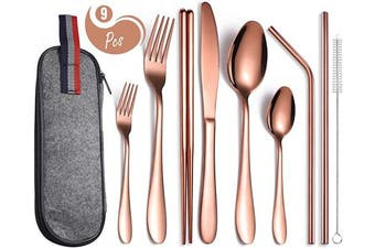 (E-9 Rose Gold) - AARainbow 9 Pieces Stainless Steel Flatware Set Portable Reusable Cutlery Set Travel Utensils Set Including Chopsticks Knife Fork Spoon Straws Cleaning Brush Dishwasher Safe (E-9 Rose Gold)