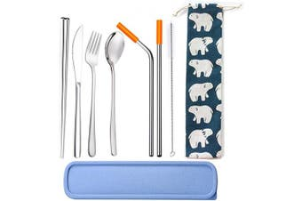 Choary Portable Stainless Steel Flatware Set with a case,including Knife Fork Spoon Chopsticks Cleaning Brush Straws Portable Case, Reusable Cutlery Set Travel Utensils Set(silver)