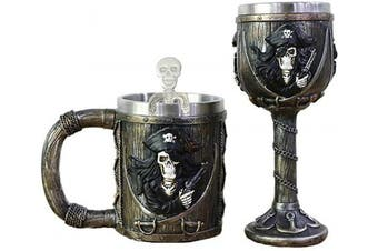 Pirate Skull Mug Goblet Spoon Set of 3 With Stainless Steel - Viking Warrior Skull Mug Beer Tankard or Coffee Mug & Wine Chalice Ideal Novelty Gothic Gift Idea Men Christmas Gifts Father's Day Gift