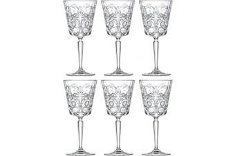 Goblet - Red Wine Glass - Water Glass - Stemmed Glasses - Set of 6 Goblets - Lead Free Crystal - 330ml - Tattoo Designed -Beautifully Designed - by Barski - Made in Europe