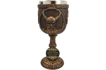 Atlantic Collectibles Norse Mythology Shapeshifter Trickster God Jotunn Loki 180ml Resin Wine Goblet Chalice With Stainless Steel Liner