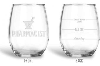 BadBananas Pharmacist Gifts - 620ml Engraved Wine Glass with Etched Coaster - Good Day, Bad Day, Don't Even Ask - Pharmacy Gifts For Women And Men