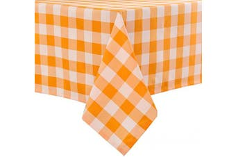Hiasan 140cm x 200cm Chequered Tablecloth Rectangle - Waterproof and Wrinkle Resistant Table Cloth for Picnic, Dinner and Party, Washable Polyester Fabric, Yellow and White Gingham Pattern