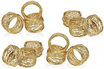 (12, Golden) - Divine glance Golden Round Mesh Napkin Rings Holder for Weddings Dinner Parties or Every Day Use (12)