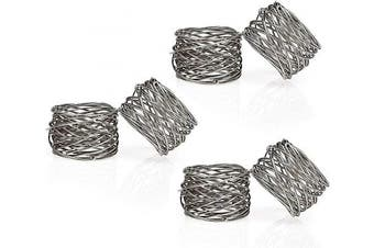 (6, Silver) - Divine glance Metal Mesh Napkin Rings Set for Dining Table: 5.1cm Diameter x 3.8cm High (6, Silver)
