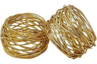 (8, Gold) - Divine glance Golden Round Mesh Napkin Rings for Weddings Dinner Parties or Every Day Use (8)