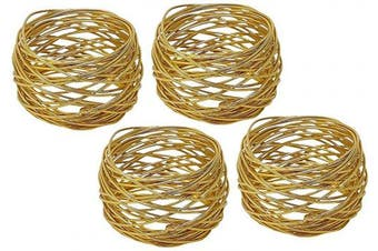 (4, Gold) - Divine glance Golden Round Mesh Napkin Rings for Weddings Dinner Parties or Every Day Use (4)
