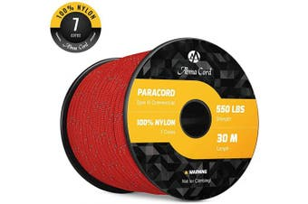 (Reflective Red, 50 Metre) - Abma Cord 550 Paracord 7 Inner Strands 100% Nylon Parachute Cord - 250kg Breaking Strength