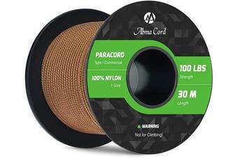 (Brown, 30 Metres) - Abma Cord 2mm Paracord 1 Inner Strand 100% Nylon Parachute Cord - 45kg Breaking Strength