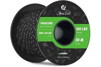 (Reflective Black, 30 Metres) - Abma Cord 2mm Paracord 1 Inner Strand 100% Nylon Parachute Cord - 45kg Breaking Strength