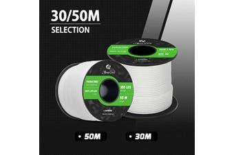 (White, 30 Metres) - Abma Cord 2mm Paracord 1 Inner Strand 100% Nylon Parachute Cord - 45kg Breaking Strength
