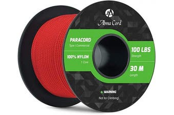 (Red, 50 Metres) - Abma Cord 2mm Paracord 1 Inner Strand 100% Nylon Parachute Cord - 45kg Breaking Strength