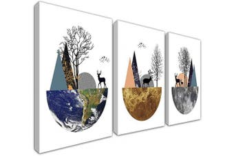 (30cm  x 41cm  unframed, Plant) - Gardenia Art Deers Trees and Mountains on The Planet at Sunrise and Sunset Canvas Wall Art Living Room Bedroom Decor 30cm x 41cm /Piece, unframed, 3 Panels