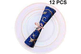 (12 PCS-LEAF,ROSE GOLD) - Napkin Ring, 12 Pcs Metal Napkin Holder for Wedding Party Dinner Table Decoration (12 PCS-LEAF,ROSE GOLD)