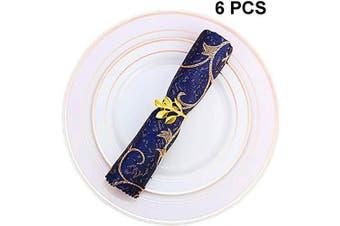 (6 PCS-LEAF,GOLD) - Napkin Ring, 6 Pcs Metal Napkin Holder for Wedding Party Dinner Table Decoration (6 PCS-LEAF,GOLD)