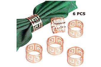 (6 PCS-ROSE GOLD) - Napkin Ring, 6 Pcs Metal Napkin Holder for Wedding Party Dinner Table Decoration (Rose Gold)