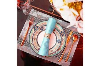 (12 PCS-ROSE GOLD) - Napkin Ring, 12 Pcs Metal Napkin Holder for Wedding Party Dinner Table Decoration (Rose Gold)