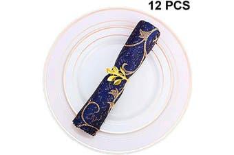 (12 PCS-LEAF,GOLD) - Napkin Ring, 12 Pcs Metal Napkin Holder for Wedding Party Dinner Table Decoration (12 PCS-LEAF,GOLD)