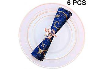 (6 PCS-LEAF,ROSE GOLD) - Napkin Ring, 6 Pcs Metal Napkin Holder for Wedding Party Dinner Table Decoration (6 PCS-LEAF,ROSE GOLD)