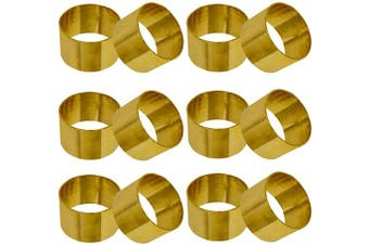 (12, Gold) - SKAVIJ Metal Solid Napkin Rings Set for Dining Table Decoration (Dia-3.8cm , Pack of 12, Gold)