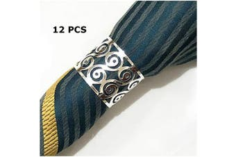 (12 PCS-PATTERN,SILVER) - Napkin Ring, 12 Pcs Metal Napkin Rings Holder for Wedding Party Dinner Table Decoration (12 PCS-PATTERN,SILVER)