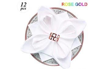 (12 PCS-GREAT WALL,ROSE GOLD) - Napkin Ring, 12 Pcs Metal Napkin Rings Holder for Wedding Party Dinner Table Decoration (12 PCS-GREAT WALL,ROSE GOLD)