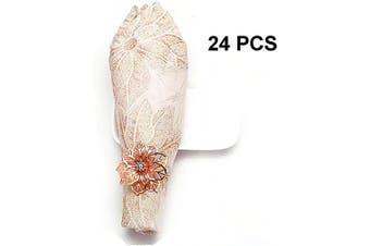 (24 PCS-FLOWER,ROSE GOLD) - Napkin Ring, 24 Pcs Metal Napkin Rings Holder for Wedding Party Dinner Table Decoration (24 PCS-FLOWER,ROSE GOLD)