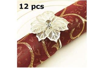 (12 PCS-FLOWER,SILVER) - Napkin Ring, 12 Pcs Metal Napkin Rings Holder for Wedding Party Dinner Table Decoration (12 PCS-FLOWER,SILVER)