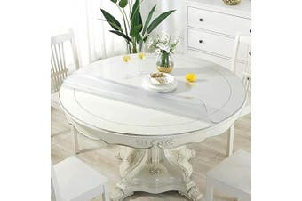 (90cm , Frosted 1.7mm) - OstepDecor New Version Frosted 90cm Round Table Cover, Plastic Round Table Protector, Round Table Pad, Heavy Duty Table Top Cover, Frosted Table Cover Protector