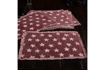 (Placemat Set 12x18, Red) - VHC Brands Multi Star Red Table Décor, Placemat Set 12x18