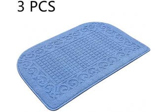 (32*50cm , Blue Blue Blue) - 80cm X 50cm Anti Fatigue Kitchen Rug Mats are Made of 100% Polypropylene Half Round Rug Cushion Specialised in Anti Slippery and Machine Washable (Blue 3pcs)