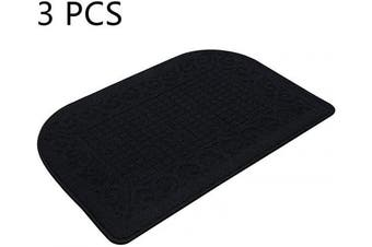 (32*50cm , Black Black Black) - 80cm X 50cm Anti Fatigue Kitchen Rug Mats are Made of 100% Polypropylene Half Round Rug Cushion Specialised in Anti Slippery and Machine Washable Black(3 pcs)