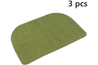 (27*46cm , Green Green Green) - 70cm X 46cm Anti Fatigue Kitchen Rug Mats are Made of 100% Polypropylene Half Round Rug Cushion Specialised in Anti Slippery and Machine Washable (Green 3pcs)