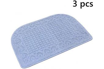 (27*46cm , Blue Blue Blue) - 70cm X 46cm Anti Fatigue Kitchen Rug Mats are Made of 100% Polypropylene Half Round Rug Cushion Specialised in Anti Slippery and Machine Washable (Blue 3pc)