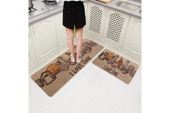 (46cm  x 150cm +46cm  x 80cm , Love Cook) - Carvapet 2 Pieces Cushioned Non-Slip Rubber Back Kitchen Runner Set Floor Mats Bathroom Rug Doormat Runner, 46cm x 150cm +46cm x 80cm , Love Cook