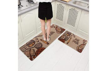 (46cm  x 150cm +46cm  x 80cm , Home Cooking) - Carvapet 2 Pieces Cushioned Non-Slip Rubber Back Kitchen Runner Set Floor Mats Bathroom Rug Doormat Runner, 46cm x 150cm +46cm x 80cm , Home Cooking