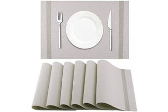 (Light Grey) - Artand Placemat, Crossweave Woven Vinyl Non-Slip Insulation Placemat Washable Table Mats Set of 6(Light Grey)