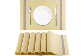 (Beige) - Artand Placemat, Crossweave Woven Vinyl Non-Slip Insulation Placemat Washable Table Mats Set of 6(Beige)