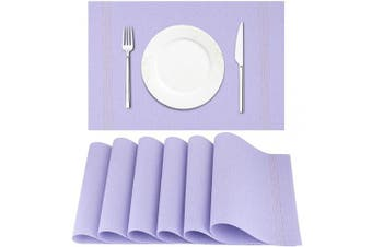 (Light Purple) - Artand Placemat, Crossweave Woven Vinyl Non-Slip Insulation Placemat Washable Table Mats Set of 6(Light Purple)