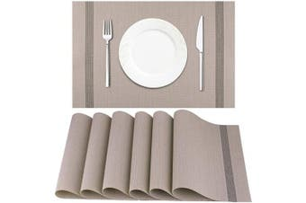 (Light Brown) - Artand Placemat, Crossweave Woven Vinyl Non-Slip Insulation Placemat Washable Table Mats Set of 6(Light Brown)