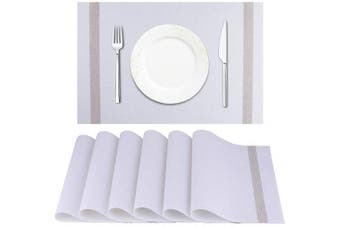 (White) - Artand Placemat, Crossweave Woven Vinyl Non-Slip Insulation Placemat Washable Table Mats Set of 6(Light Beige)