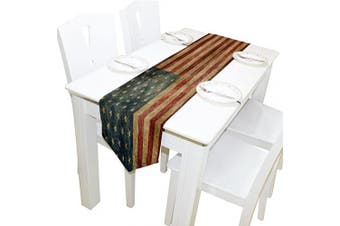 (13x70, Red) - ALAZA Table Runner Home Decor, Vintage American Flag Table Cloth Runner Coffee Mat for Wedding Party Banquet Decoration 33cm x 180cm